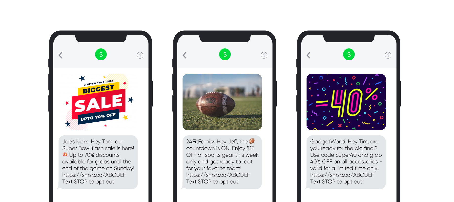 Super Bowl SMS Templates